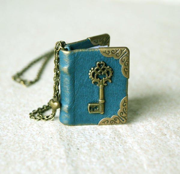 mini leather blank book with key on cover