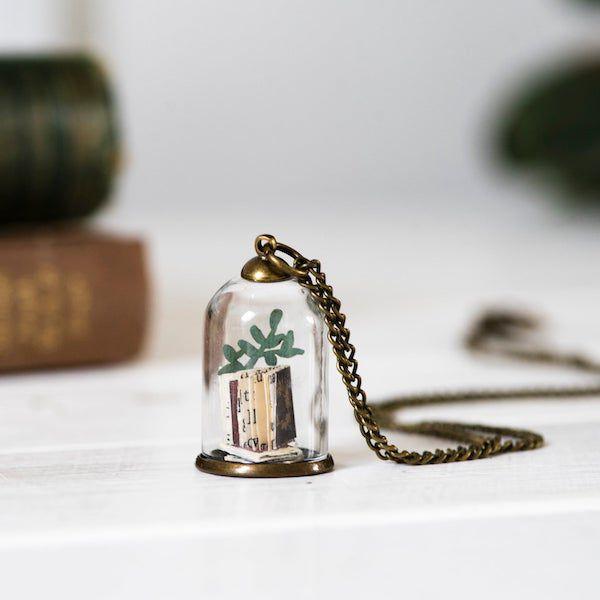 miniature book in jar necklace