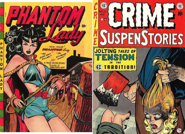 side by side cover images of Phantom Lady #14 and Crime SuspenStories #22