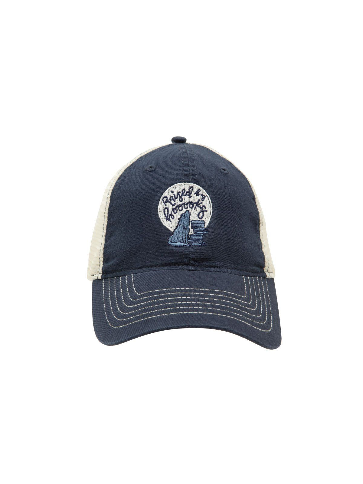 Worn by a booooks cap, with a wolf howling at the moon beside a stack of books