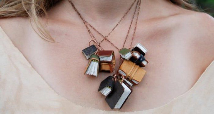 stacked books necklace