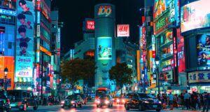 street view of shibuya japan at nighttime