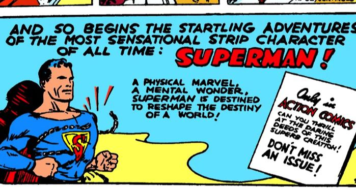 superman first appearance comic panel
