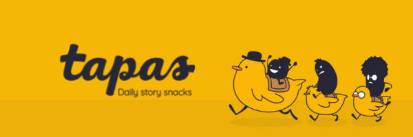 Bright Yellow Tapas Logo featuring little food-shaped shadowcreatures riding chicks in black outline  https://tapas.io/ (logo images edited into composite on canva)