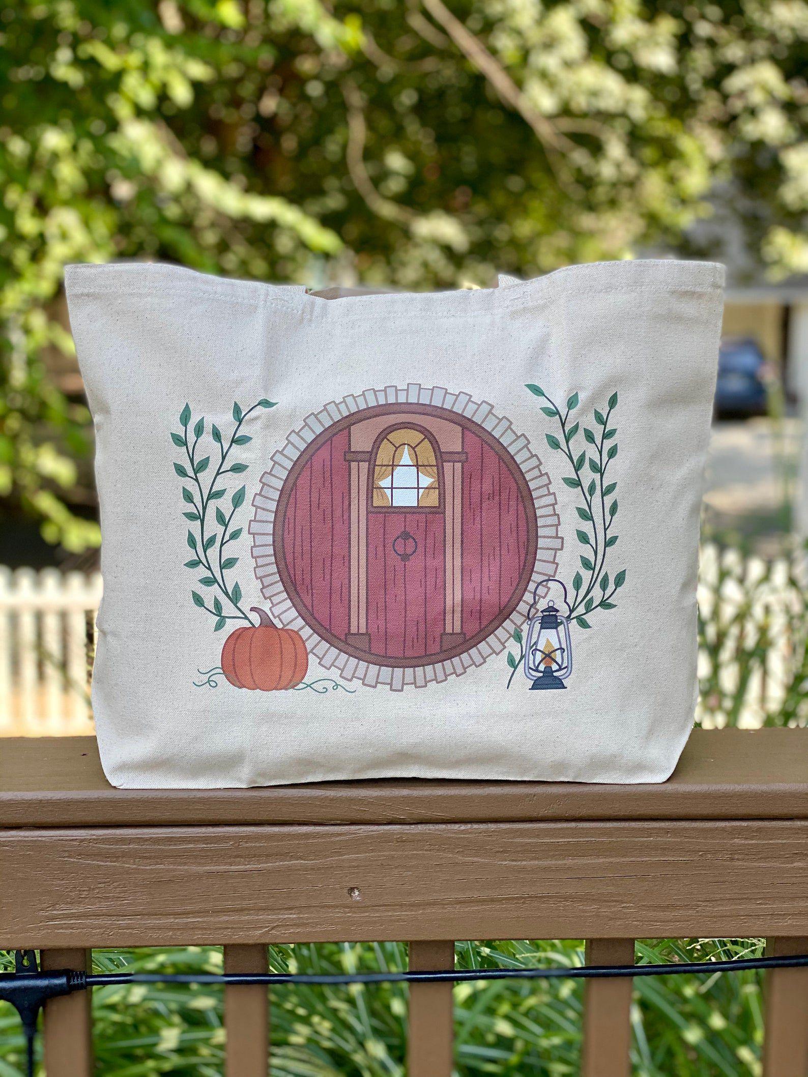 Hobbit hole print tote bag