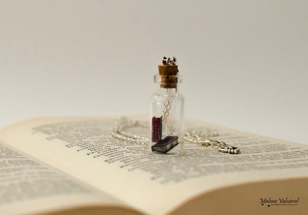 tiny books in a vial necklace