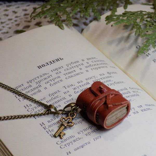 tiny red leather journal necklace