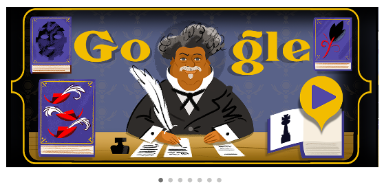 screenshot of a cartoon of Alexandre Dumas where his head forms the second O in Google