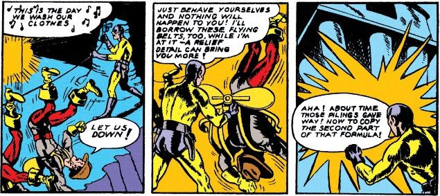 Sandman strings up some futuristic security men from their ankles like they're on a clothesline.