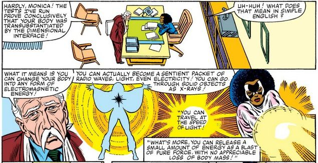 Monica Rambeau sits at a desk as an elderly scientist explains her powers to her.