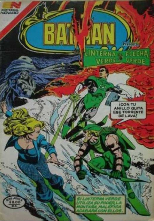 Green Arrow, Green Lantern, and Black Canary ski down a mountain, tries to outrace a lava flow. The disembodied head of an old witch watches from the sky.