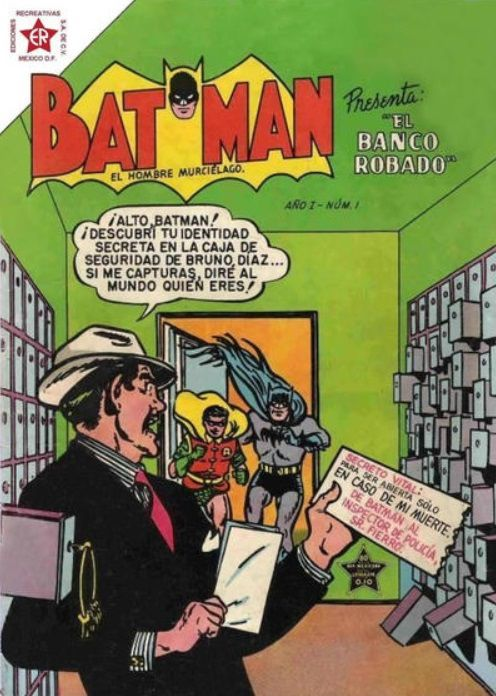 Batman and Robin race into a room of security deposit boxes. A man in a suit is there, holding a letter that divulges Batman's secret identity.