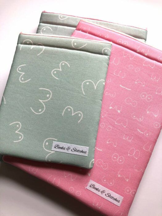 Book sleeve decorated with breasts