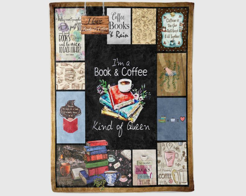 Blanket with books and bookish sayings