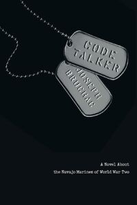 Book cover for Code Talker, a black background with silver dog tags. The tags display the name of the book and the name of the author, Joseph Bruchac.