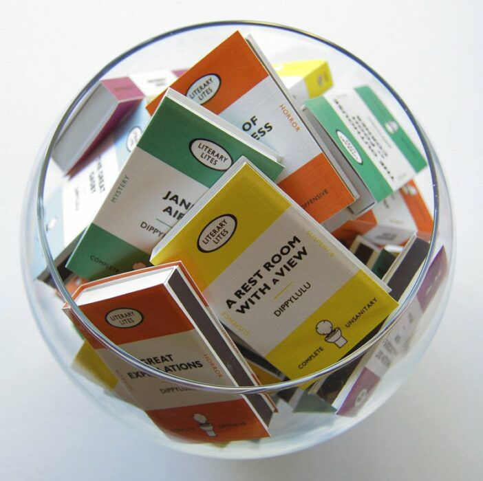 Fishbowl full of matches with literary covers
