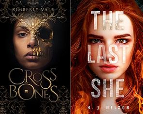 Covers of the books Crossbones by Kimberly Vale and The Last She by H.J. Nelson