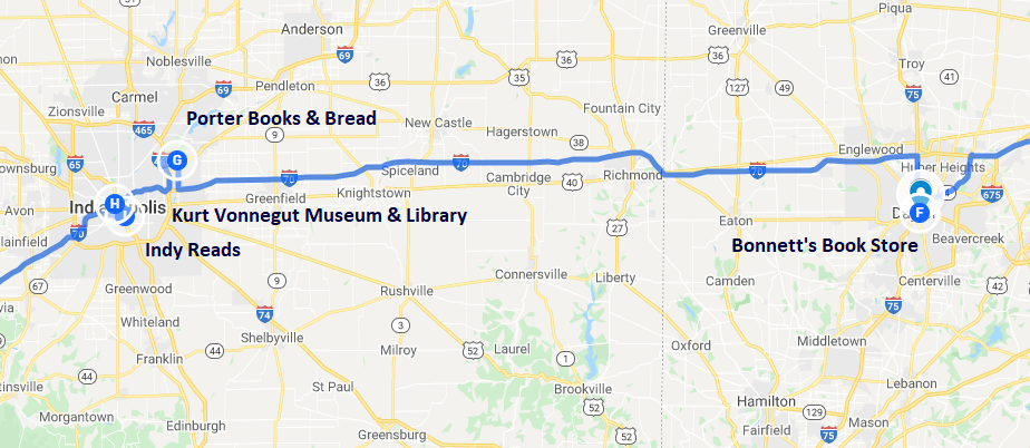 Map of bookish destinations in Dayton, Ohio and Indianapolis, Indiana