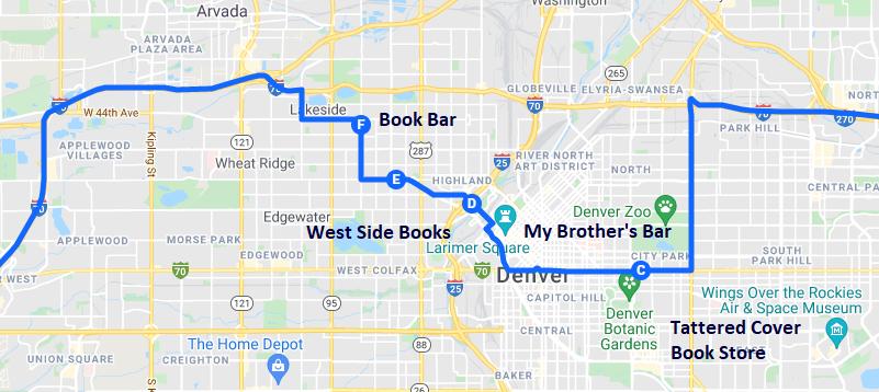 Map of bookish destinations in Colorado