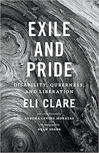 A graphic featuring the cover of Exile and Pride: Disability, Queerness, and Liberation by Eli Claire