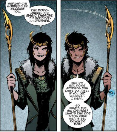 A panel of Loki shifting between Loki and Lady Loki