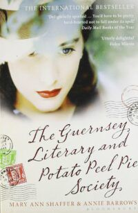 Book cover for The Guernsey Literary and Potato Peel Pie Society, showing a woman with red lipstick, her face slightly obscured by a hat. There are postmarks to the left and right of the book's title beneath her face.