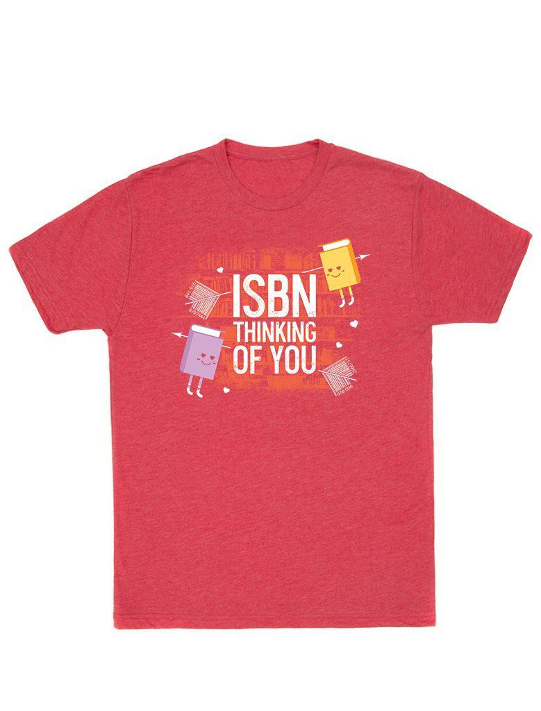 """Red shirt with text reading """"ISBN Thinking of You"""""""