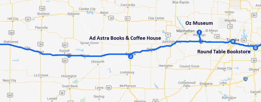 Map of bookish destinations in Topeka, Wamego, and Salina Kansas