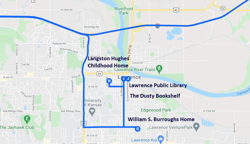 Map of bookish destinations in Lawrence, Kansas