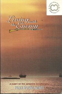 Book cover for Living with the Enemy, showing ships on a body of water beneath a large orange sky.
