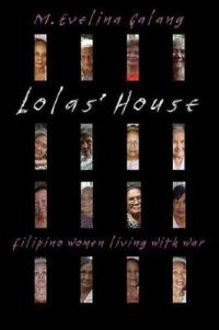 Book cover for Lola's House, a black cover with 16 slim boxes. In each box is the face of a different woman.