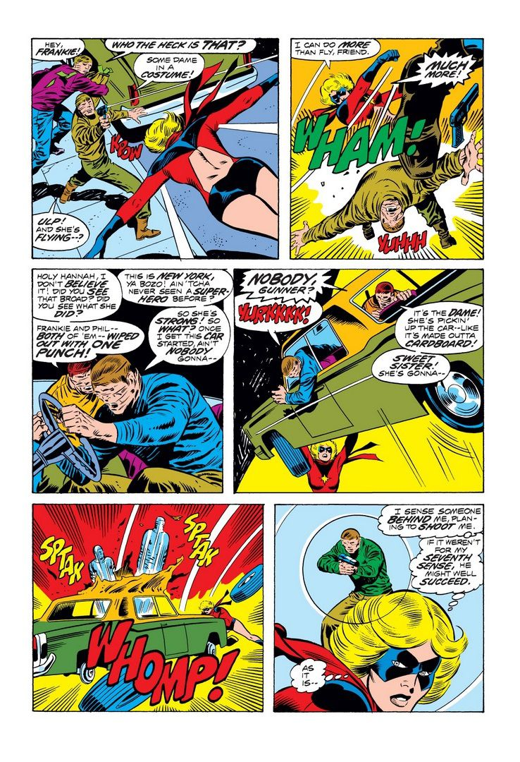Ms. Marvel does battle with a series of armed bad guys.