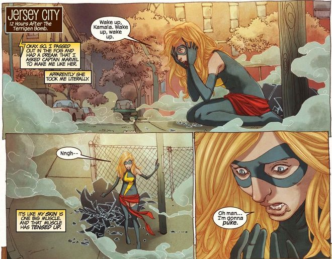 Kamala Khan has accidentally shapeshifted into Carol Danvers/Ms. Marvel. She is stunned and scared.