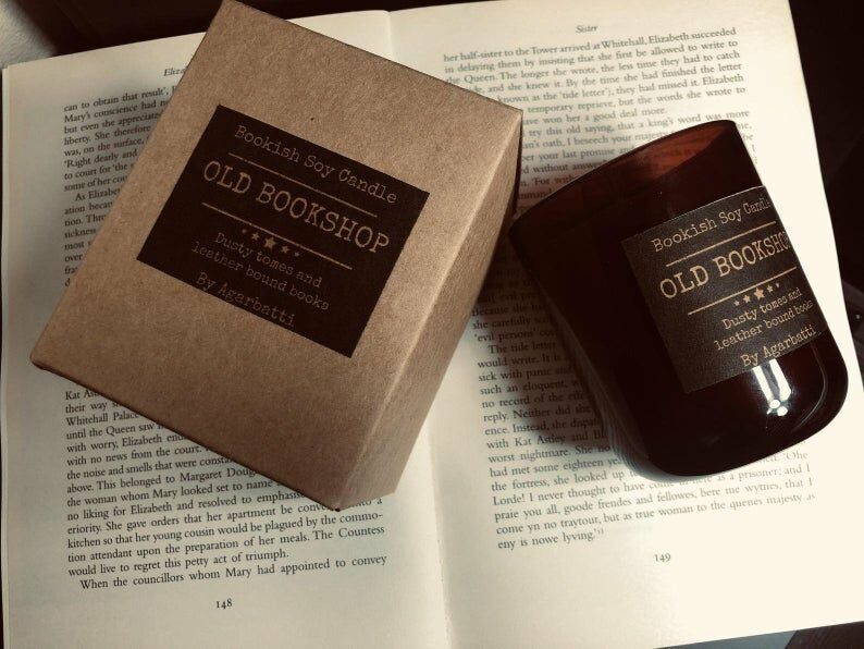 Soy candle scented like an old bookshop