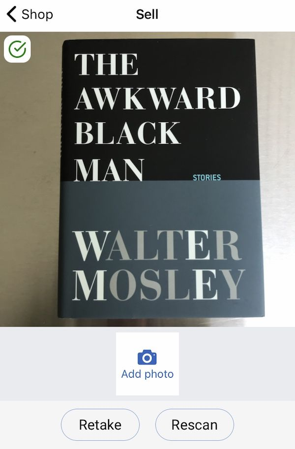 Screen shot from inside PangoBooks app of the cover for The Awkward Black Man.