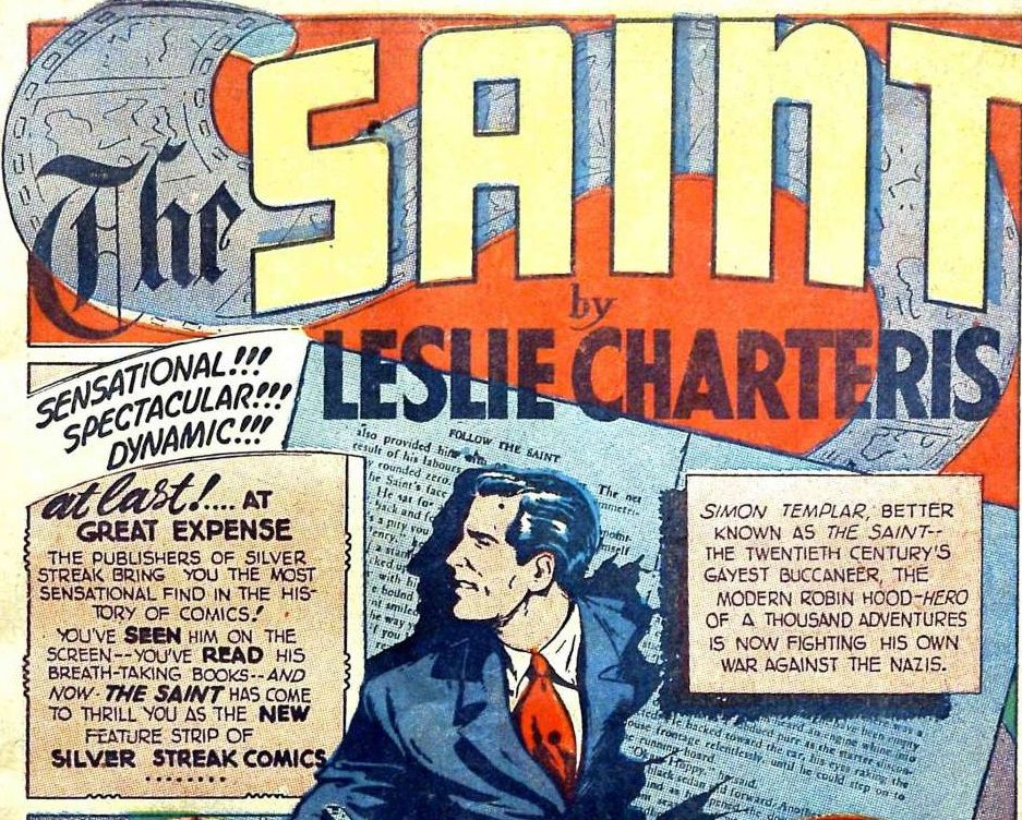 The title page for the feature shows the Saint bursting through the pages of a novel.