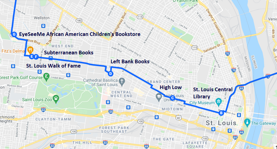 Map of literary destinations in St. Louis Missouri