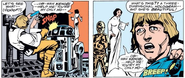 R2D2 plays part of Princess Leia's distress message to Obi-Wan. Luke remarks on how beautiful she is.