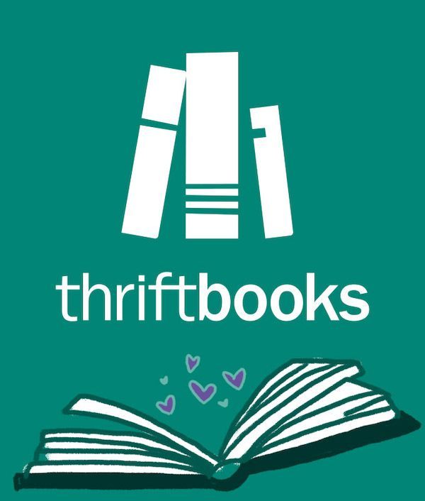 ThriftBooks logo with book open to purple hearts on teal background