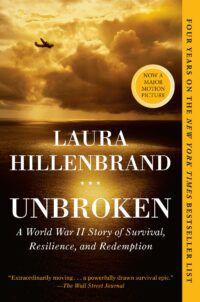 Book cover for Unbroken, showing a military plane flying across a cloudy sky over a golden, calm ocean.