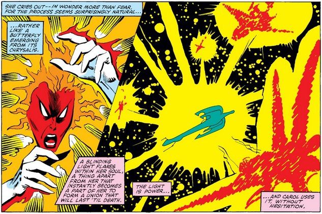 Binary senses the presence of enemy spaceships and blasts them all with her energy powers.