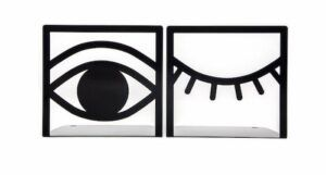 Image of two bookends. One is an open eye and the other is a shut eye.