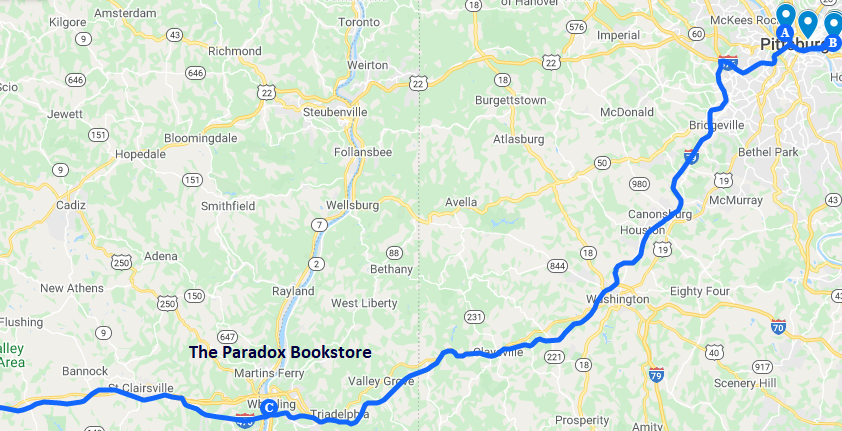 Map of the route to The Paradox Bookstore in Wheeling West Virginia