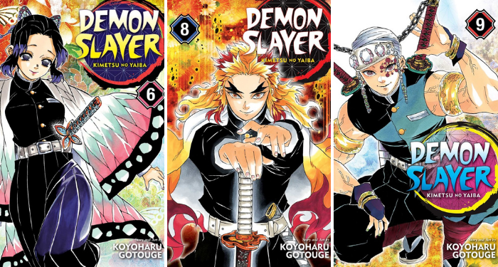 collage of three Demon Slayer covers