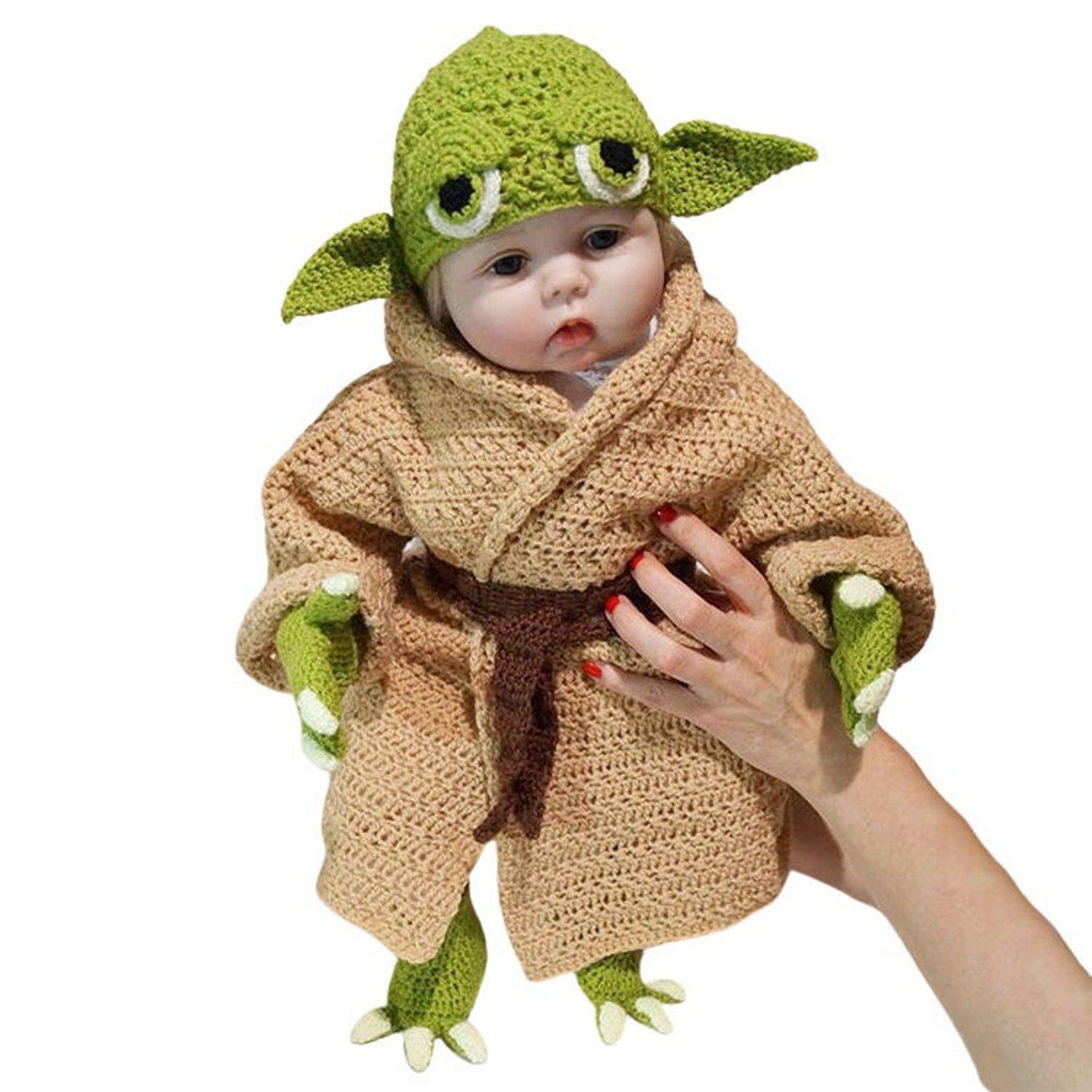 Image of crocheted yoda costume