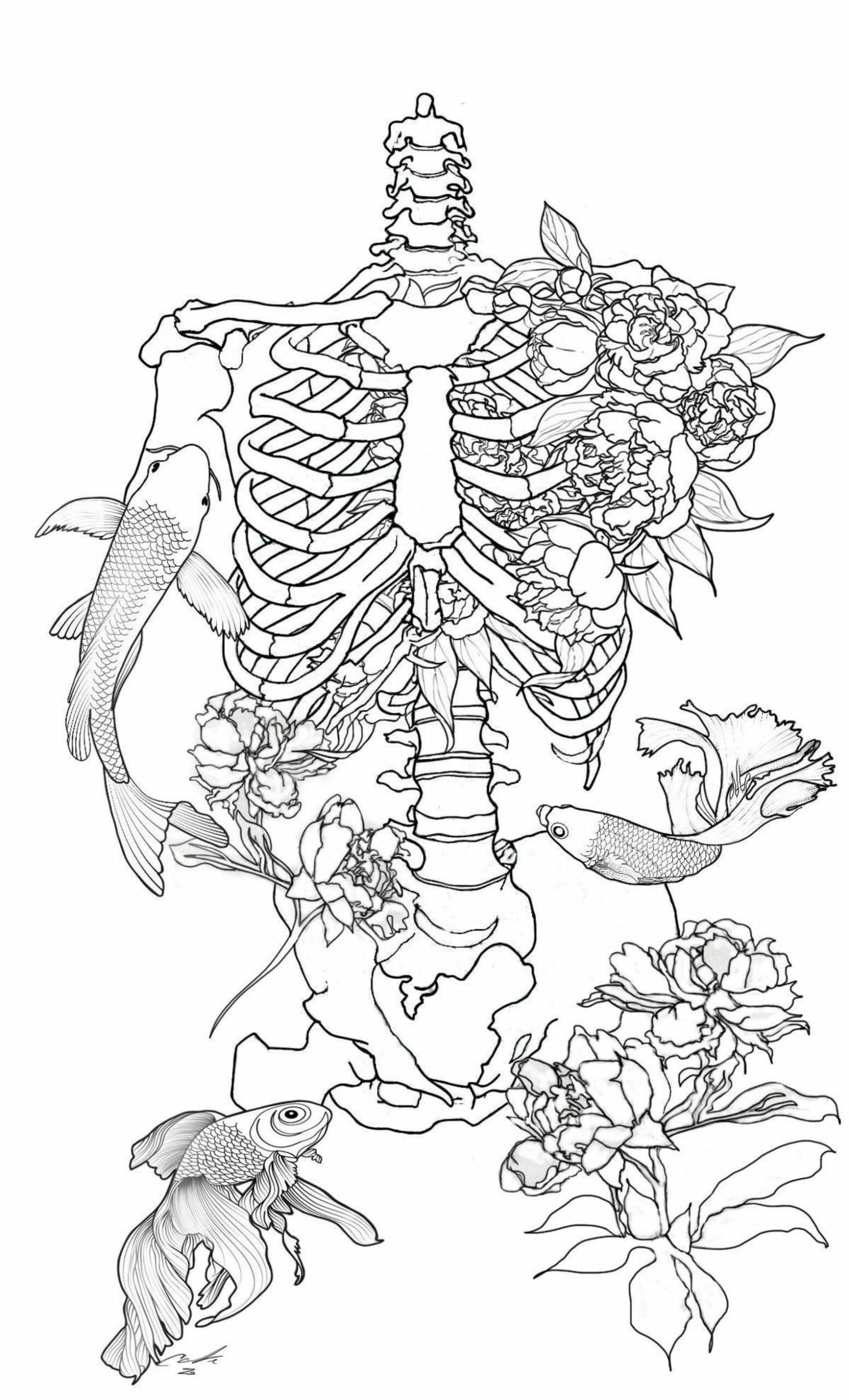coloring book design of a skeleton of flowers and fish