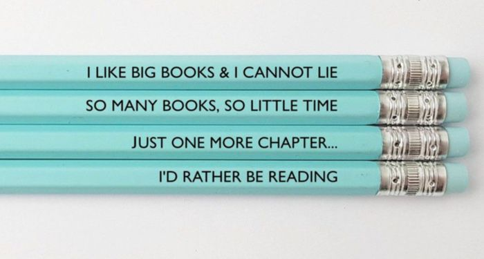 four light blue pencils with book quotes inscribed