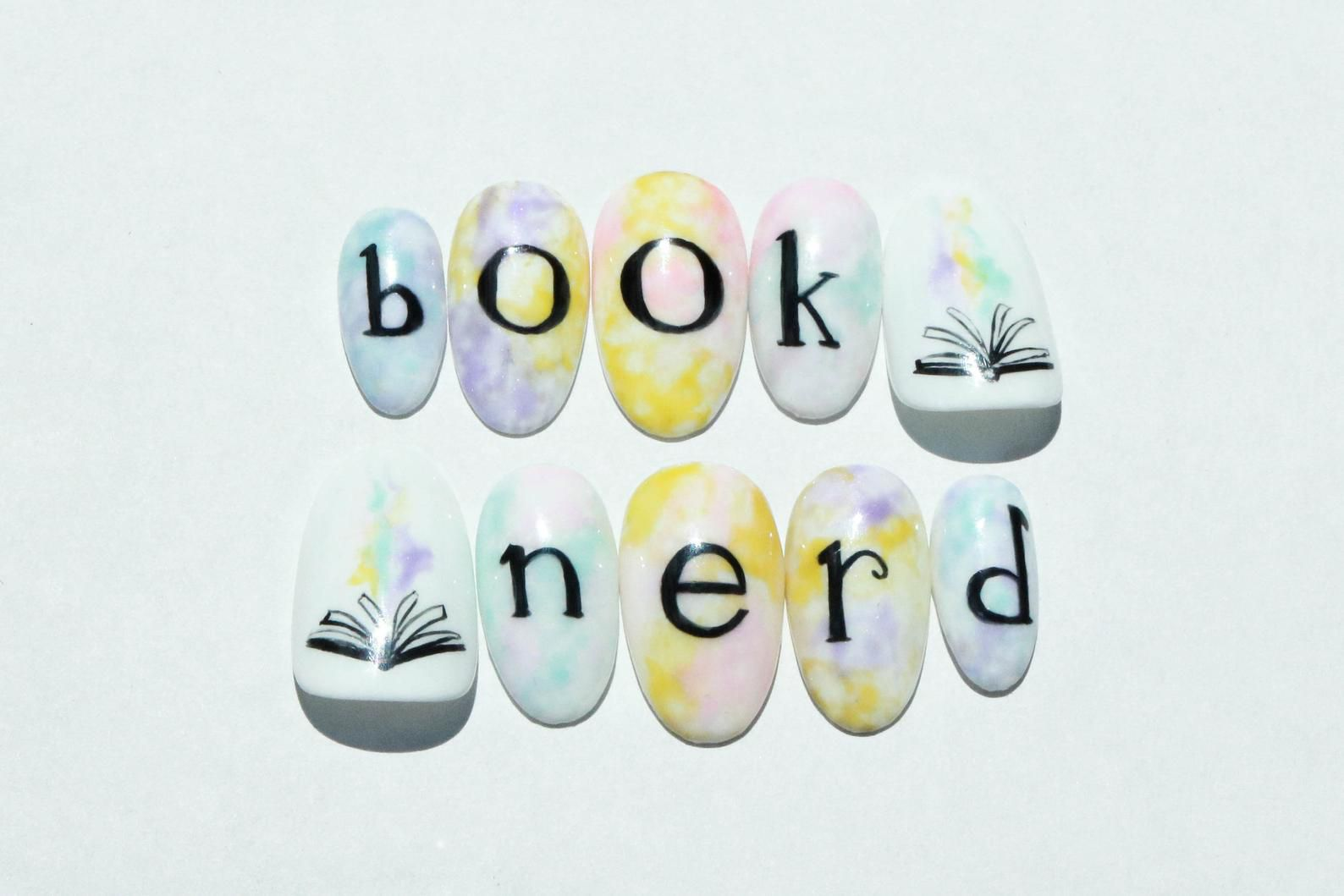 """Image of """"book nerd"""" nails."""