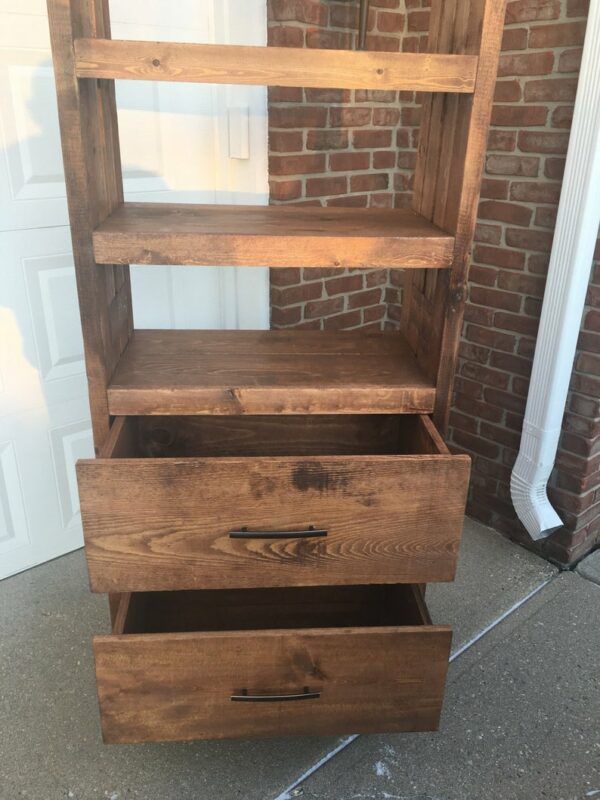 Wooden bookshelf with two drawers