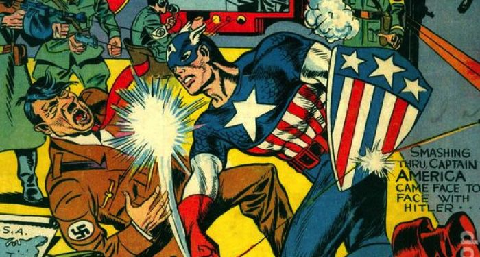 closeup of cover of Captain America Comics #1